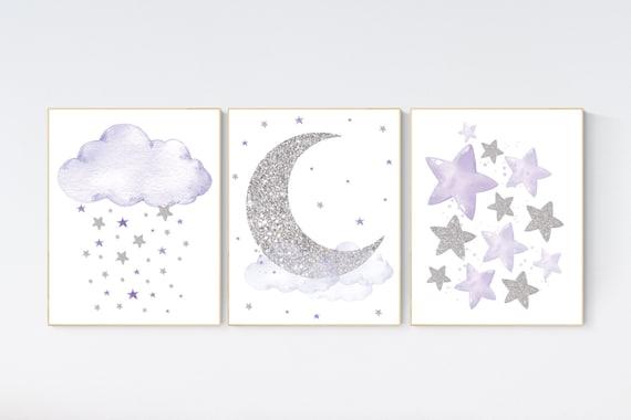 Nursery decor girl, moon and stars, Purple silver, lilac silver, baby room decor girl, lavender, cloud and stars, baby room, girl room ideas