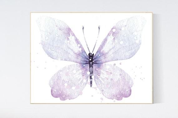 Nursery decor girl purple, nursery decor girl, butterfly nursery wall art, lavender nursery, lilac nursery, girls room decor purple