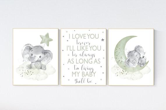 Elephant nursery, sage green nursery decor, gender neutral prints, mint nursery wall art, elephant prints, animal nursery wall art, neutral