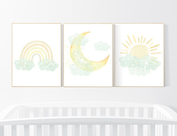 Mint and yellow nursery, moon and stars nursery, gender neutral nursery, nursery wall decor, rainbow, sun, mint yellow nursery prints