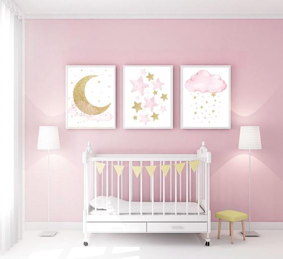 Nursery Wall Art Girl Baby Room Decor Girl Gold And Pink | Etsy