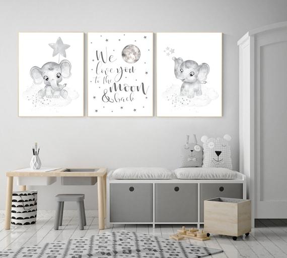 Grey nursery wall art, elephant nursery wall art, moon and stars, gender neutral, gray nursery art, baby room decor, neutral, twin nursery