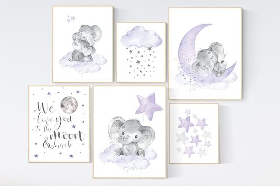 Nursery decor girl lilac, purple nursery, nursery decor elephant girl, moon and stars, nursery prints girl, lavender, star nursery