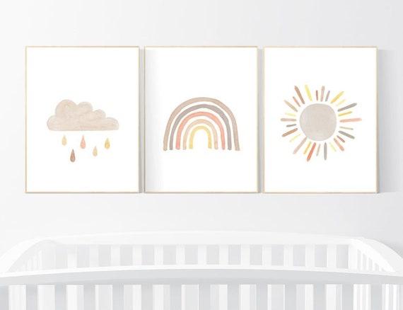 CUSTOM LISTING: Canvas Prints, Nursery decor rainbow, neutral Rainbow Wall Art, rainbow Print Set, Cloud Rainbow Sun, Rainbow Wall Art