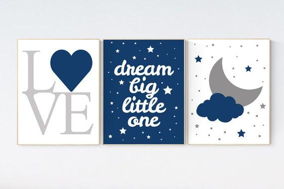 Nursery decor boy, NAVY nursery prints quotes, nursery prints boy, navy blue nursery decor, dream big, nursery decor elephant navy nursery