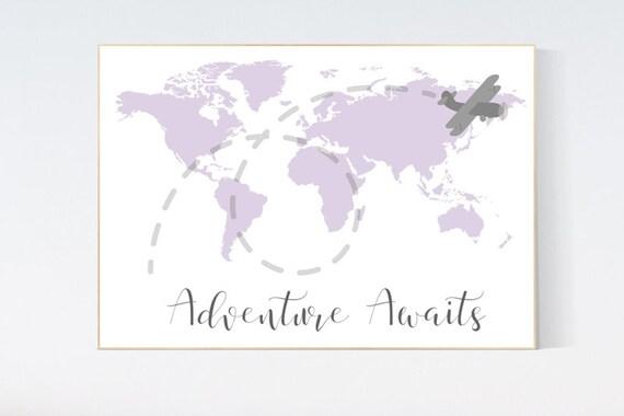 Nursery decor girl purple, nursery decor map, Lilac nursery, adventure awaits, travel nursery decor, world map, lavender nursery
