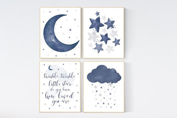 Nursery decor boy, navy nursery wall art boy, moon and stars, navy blue, navy nursery set, twinkle twinkle little star, boys room wall art