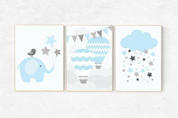 Hot air balloon nursery, baby boy nursery, nursery decor boy, cloud nursery, elephant nursery decor, boys room decor, boys room wall art