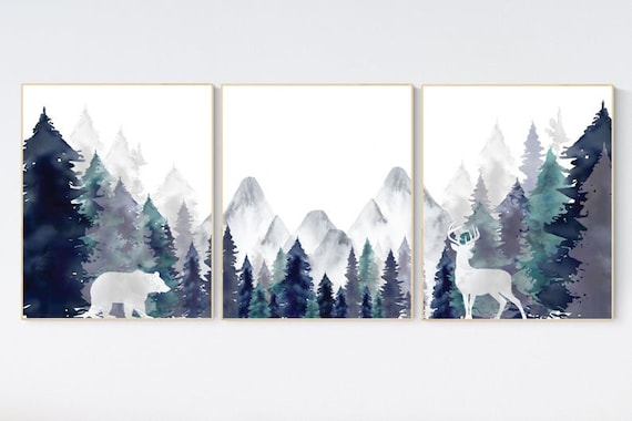 Nursery decor woodland, mountain wall art, tree nursery decor, adventure theme nursery, forest, navy and teal, woodland animals