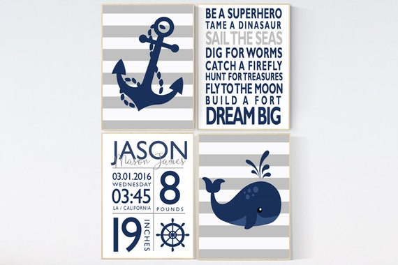 Nursery decor boy nautical, whale nursery decor, nursery wall art boy navy, nursery decor, nursery decor ocean, baby room decor nautical