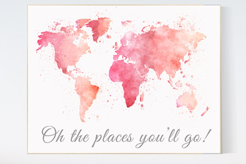 World map wall art oh the places youll go quote watercolor world world map wall art oh the places youll go quote watercolor world map baby girl nursery toddler room decor pink world map nursery prints gumiabroncs Choice Image