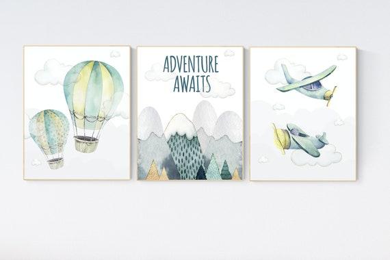 Nursery decor boy mountain, adventure nursery, travel theme nursery, woodland, gender neutral, adventure awaits, hot air balloon, plane