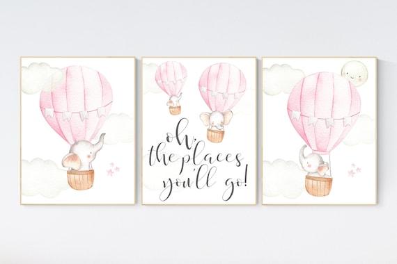 Hot air balloon nursery, nursery decor, elephant nursery, pink nursery decor, girl nursery wall decor, set of 3, baby room decor, pink