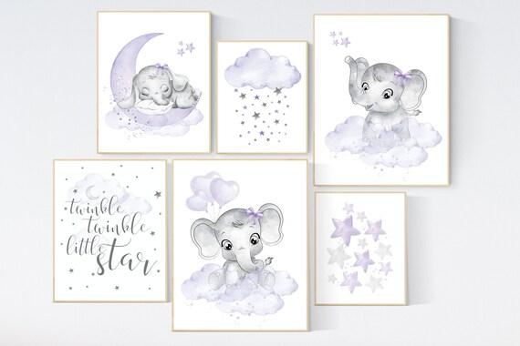 Nursery decor girl purple, lilac nursery decor, nursery decor elephant girl, moon and stars, nursery prints girl, lavender, star nursery