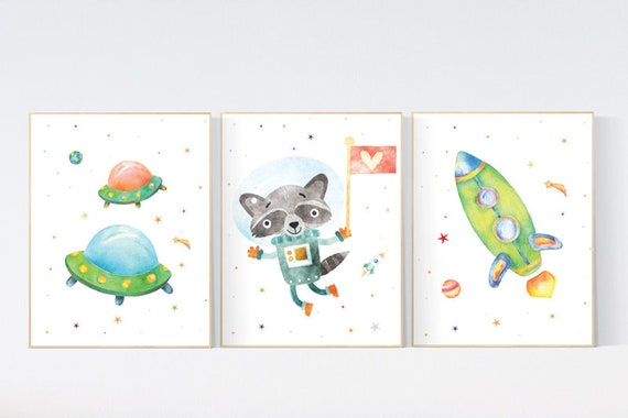 Space Boy Nursery Art Prints, Nursery decor boy space, space wall art nursery, Space wall art, space print for nursery, space nursery theme