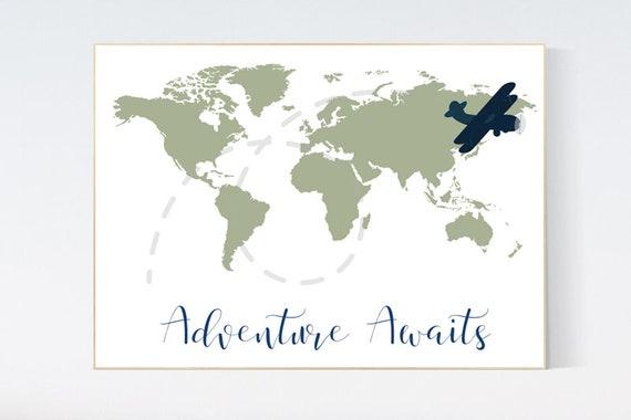 World map nursery, sage green world map, adventure awaits, world map wall art nursery, nursery wall art world map