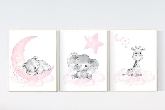 Animal nursery, nursery decor girl pink gray, nursery decor girl woodland animals, teddy bear, elephant, giraffe, baby girl nursery prints