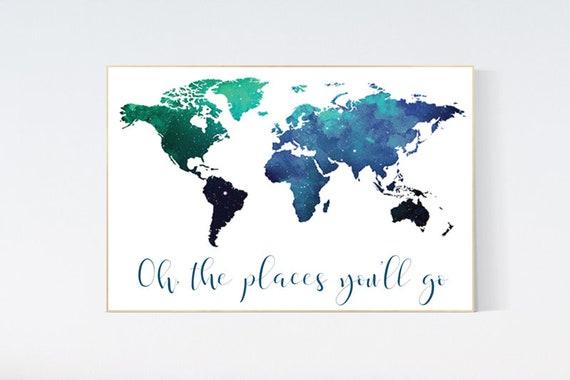 Navy teal World Map print, nursery art, baby's nursery room decor, toddler room, navy teal world map, kid's room space, world map room decor