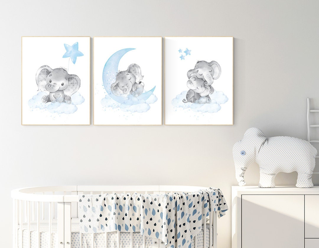 Nursery Decor Boy Elephant Nursery Wall Art Elephant Baby