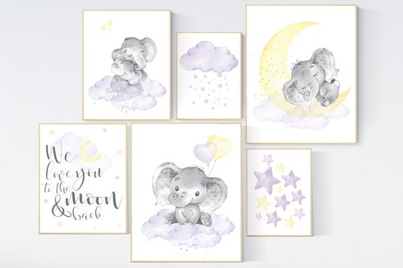Lilac yellow nursery wall art, lilac yellow, nursery wall decor, moon and stars, lavender and yellow, gender neutral, elephant nursery