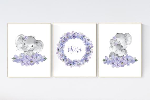 Purple teal nursery, Boho baby room, nursery wall art elephant, nursery decor girl, nursery decor girl floral, lilac nursery decor, lavender