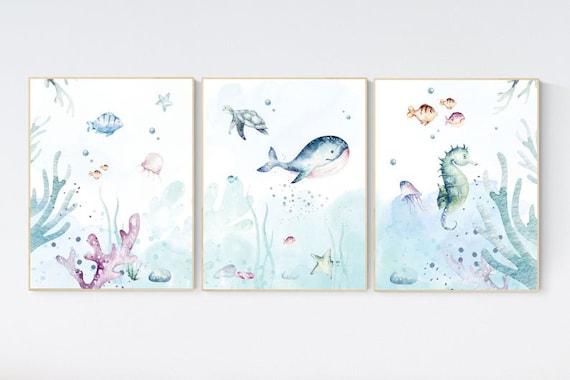 CANVAS LISTING: Under the sea wall art, Ocean nursery decor, Nautical nursery print set, under the sea nursery, gender neutral nursery