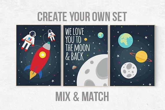 Space nursery decor, we love you to the moon and back, nursery decor boy, outer space nursery, space print, Space themed nursery, boys room