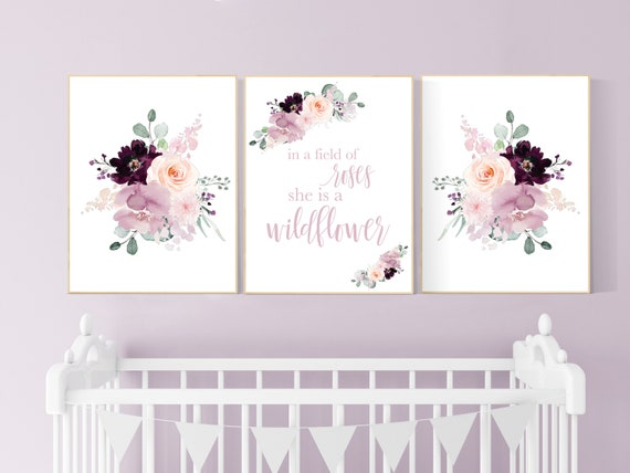 Nursery decor girl purple, mauve, Burgundy, floral nursery, flower nursery, butterfly, nursery prints girl, nursery wall decor girl, flower