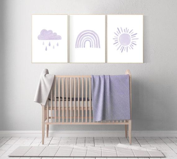 Nursery prints rainbow, Nursery decor girl, nursery wall art, purple, lavender, moon star, cloud, nursery wall art, rainbow, lilac, girls