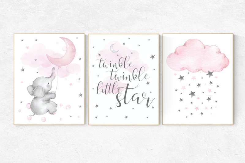 Baby Girl Nursery Wall Decor Ideas Ttwinkle twinkle little star, Moon nursery, Nursery wall art elephant, pink  nursery, baby room decor girl, nursery art, baby girl room ideas