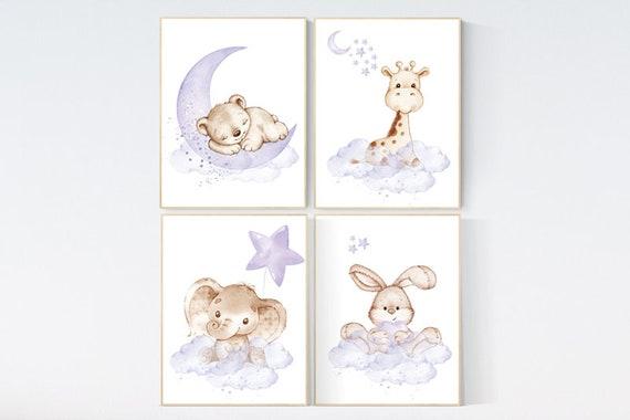 Nursery decor girl purple, woodland nursery, lilac, elephant, bear, giraffe, bunny, animal nursery, lilac nursery, animal nursery prints