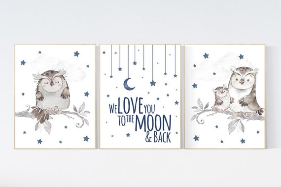 Navy nursery, we love you to the moon and back, nursery wall art boy, owl print nursery, owl print baby, navy blue, Nursery decor boy owls