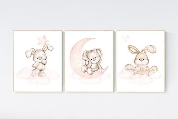 Nursery wall art bunny, blush nursery decor, Nursery decor girl flower bunny, bunny print nursery girl, rabbit nursery, rabbit print nursery