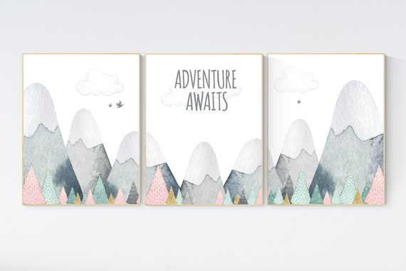 Nursery decor girl mountain, adventure nursery, adventure theme nursery, woodland, gender neutral, adventure awaits, mountains, forest