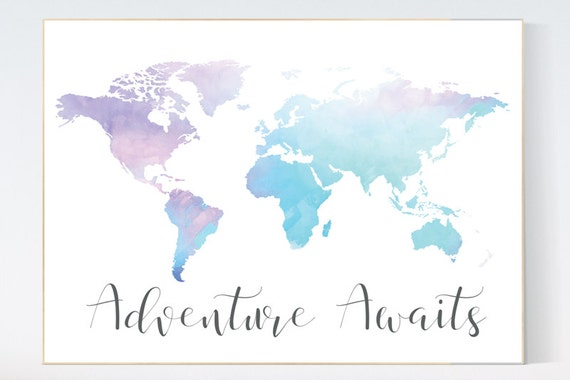 World map wall art, world map nursery, adventure waits, nursery decor, nursery boy decor, kid room decor, playroom decor, toddler decor