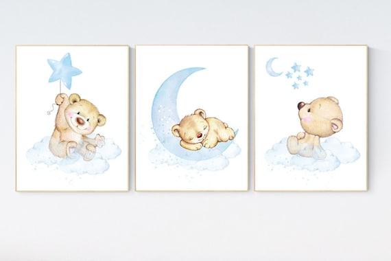 Nursery decor bear, nursery decor boy, bear nursery print, teddy bear decor, nursery wall art animals, boy nursery wall decor, blue nursery