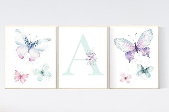 Nursery decor girl butterfly, pink, purple, teal nursery, mint pink nursery, girl room prints, baby girl nursery wall art butterfly wall art