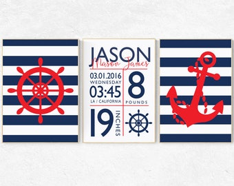 Nautical nursery decor, birth stats, Nautical decor nursery, set of 3 prints, nursery set, nursery nautical, nursery decor, baby room decor