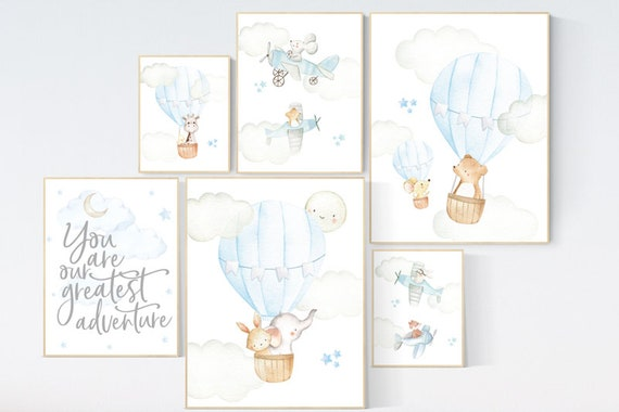 Nursery decor boy airplane, nursery decor boy hot air balloon, travel, you are our greatest adventure, nursery wall art animals, boy nursery