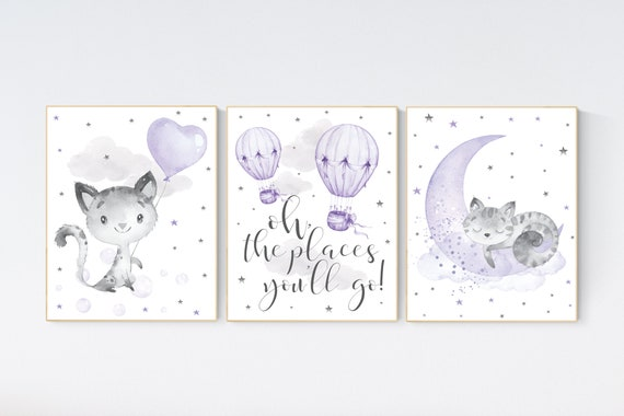Nursery decor girl purple, cat nursery, Nursery decor girl lavender and gray, oh the places you'll go, lilac, hot air balloons, kittens