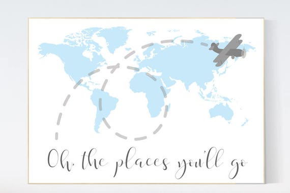 Nursery decor map, Oh the places you'll go, world map nursery, Blue nursery decor, world map wall art, baby boy nursery, nursery decor boy