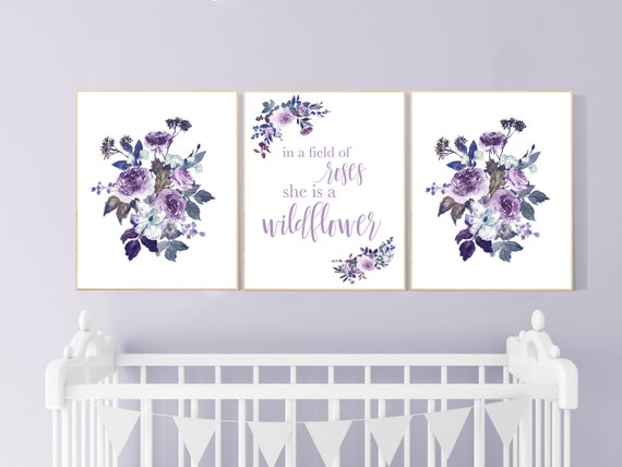 Nursery decor girl purple, burgundy, nursery decor girl floral, flower nursery, in a field of roses she is a wildflower, girl room decor