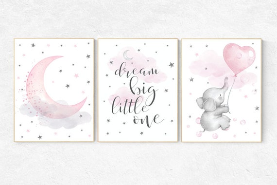 Nursery wall art girl elephant, pink and gray, nursery decor girl pink, dream big little one, cloud, stars, nursery prints, baby room decor