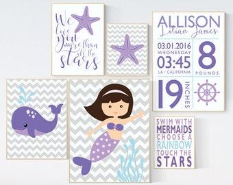 Mermaid nursery decor, Turquoise and Lavender, we love you more than all the stars, Girls room decor, nautical nursery, whale nursery