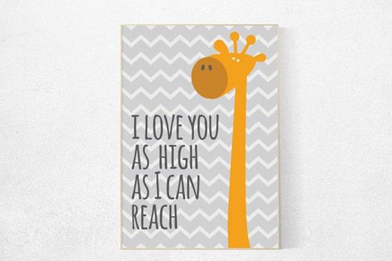 Safari nursery, Giraffe nursery decor, Giraffe nursery art, nursery set, giraffe print, nursery giraffe, i love you as high as i can reach