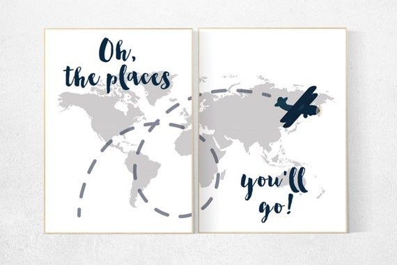 CANVAS LISTING: Oh the places you'll go, World Map wall art, world map nursery, Navy gray nursery decor, world map wall art
