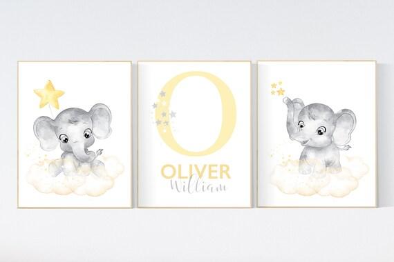 Nursery decor neutral, Yellow nursery, nursery wall art elephant, moon, stars, gender neutral, yellow and gray nursery art, baby room art