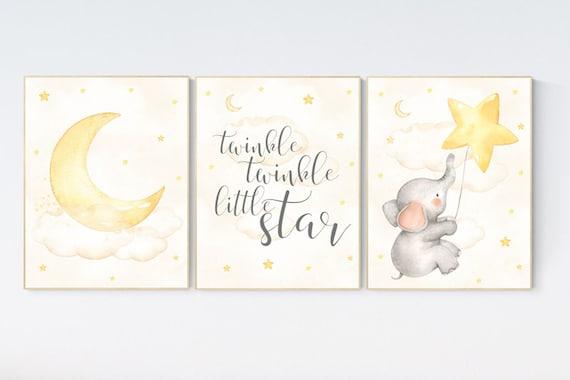 Cloud and stars nursery, Nursery wall art elephant, Nursery decor neutral, gender neutral, twinkle twinkle little star, yellow nursery, moon