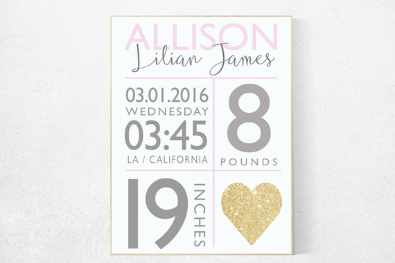 Girl birth announcement nursery decor, pink and gold  nursery decor, nursery prints, baby birth print, baby print, baby stats