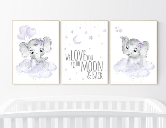 Nursery prints girl, Nursery decor girl purple, nursery decor elephant girl, moon and stars, lavender, girl nursery ideas, lilac nursery